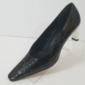 """J Renee 10M Mirror 3"""" Heels Pumps Black Croc"""